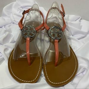 Tory Burch Violet Leather Thong Flat Sandals
